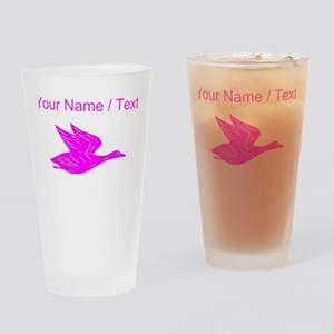Custom Pink Flying Duck Silhouette Drinking Glass