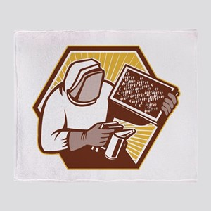 Beekeeper Apiarist Holding Bee Brood Retro Throw B