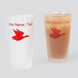 Custom Red Flying Duck Silhouette Drinking Glass