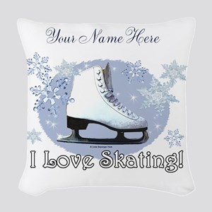 I Love Skating! Woven Throw Pillow