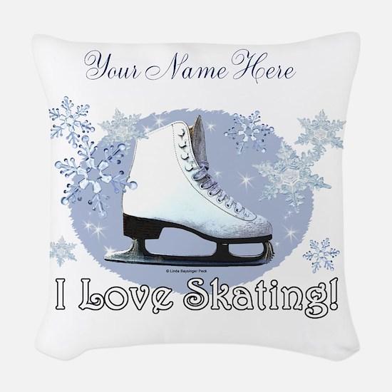 I Love Skating! Woven Throw Pillow