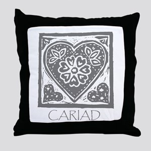 Cariad, darling sweetheart Welsh lino Throw Pillow