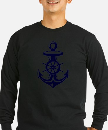 Antique Navy Blue Anchor Long Sleeve T-Shirt