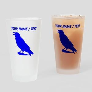 Custom Blue Crow Silhouette Drinking Glass