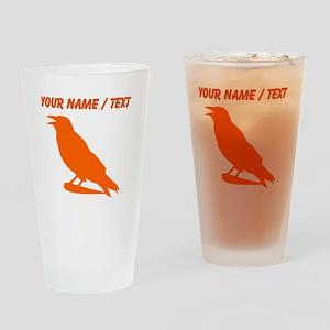 Custom Orange Crow Silhouette Drinking Glass