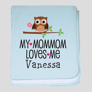 MomMom Loves Me Personalized Girls baby blanket