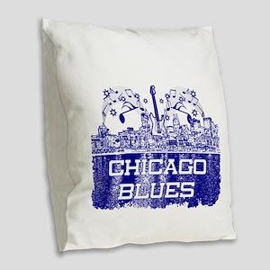 Chicago BLUES-4 Burlap Throw Pillow