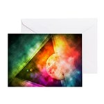 Abstract Full Moon Spectrum Greeting Cards