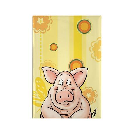 fnacy Pig, piggy Rectangle Magnet