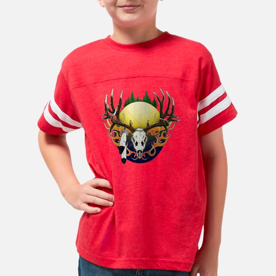 Deer skull with eagle feather Youth Football Shirt