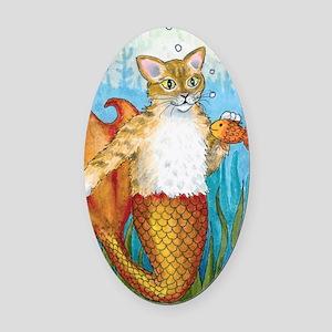 Cat Mermaid 27 Oval Car Magnet