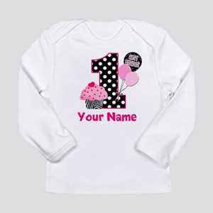 1st Birthday Zebra Cupcake Long Sleeve T-Shirt