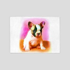 French bulldog art 5'x7'Area Rug