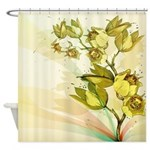 Yellow Vintage Flowers Shower Curtain