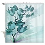 Teal Vintage Flowers Shower Curtain