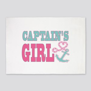 Captains Girl Boat Anchor and Heart 5'x7'Area Rug
