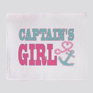 Captains Girl Boat Anchor and Heart Throw Blanket