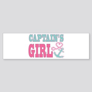 Captains Girl Boat Anchor and Heart Bumper Sticker