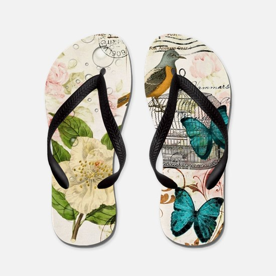 girly butterfly rose floral postage scr Flip Flops