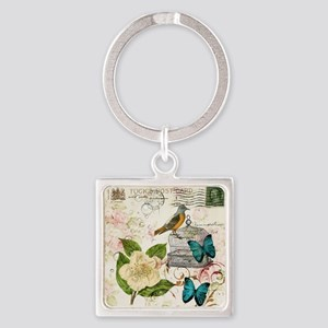 girly butterfly rose floral postag Square Keychain