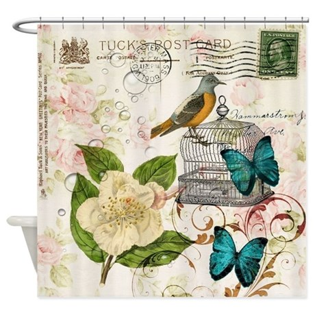 Girly Butterfly Rose Floral Postage Shower Curtain By ADMIN CP62325139
