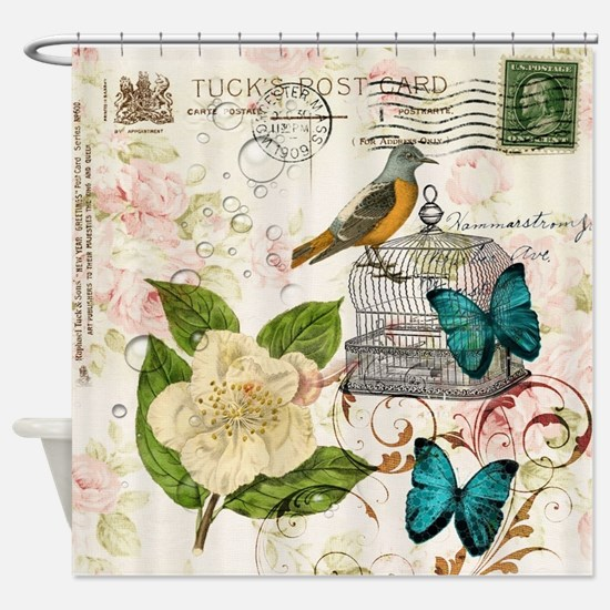 girly butterfly rose floral postage Shower Curtain