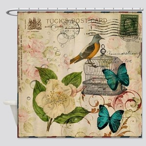 Vintage Envelope Floral Bird Botani Shower Curtain