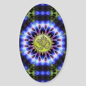 Om Symbol Blue Forest Energy Mandal Sticker (Oval)