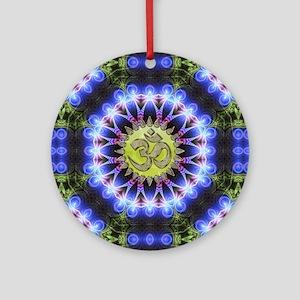 Om Symbol Blue Forest Energy Mandal Round Ornament