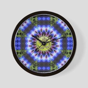 Om Symbol Blue Forest Energy Mandala Wall Clock