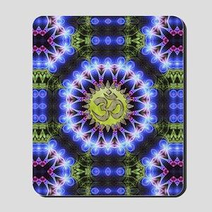 Om Symbol Blue Forest Energy Mandala Mousepad