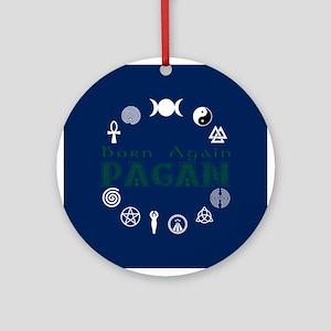 Born Again_button Wht-Blu Ornament (Round)
