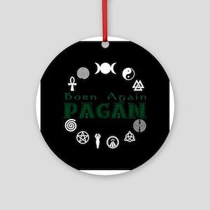 Born Again_button Wht-Blk Ornament (Round)