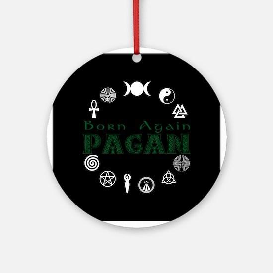 Born Again_button Wht-Blk.png Ornament (Round)