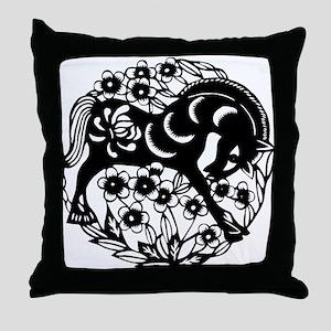 PaperCut Chinese Zodiac Horse Throw Pillow