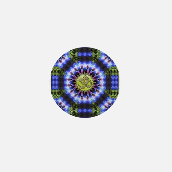 Om Symbol Blue Forest Energy Mandala Mini Button