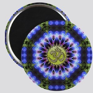 Om Symbol Blue Forest Energy Mandala Magnets