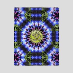 Om Symbol Blue Forest Energy Mandala Twin Duvet