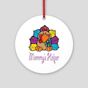 Mommys helper Rainbow Turkey Ornament (Round)