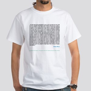 White T-Shirt - Deep Blue quote in binary