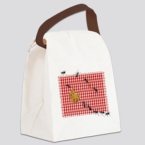 Ant Picnic on Red Checkered Cloth Canvas Lunch Bag