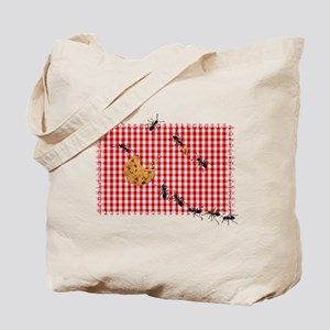 Ant Picnic on Red Checkered Cloth Tote Bag