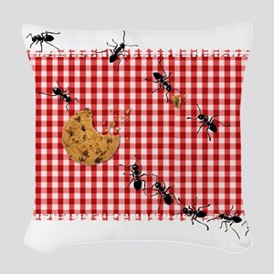 Ant Picnic on Red Checkered Cloth Woven Throw Pill