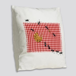 Ant Picnic on Red Checkered Cloth Burlap Throw Pil