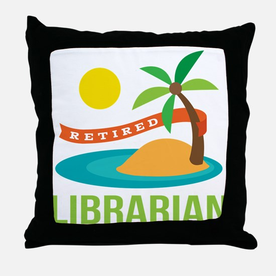 Retired Librarian (Tropical) Throw Pillow