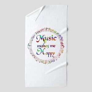 Music makes me Happy Beach Towel