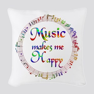 Music makes me Happy Woven Throw Pillow