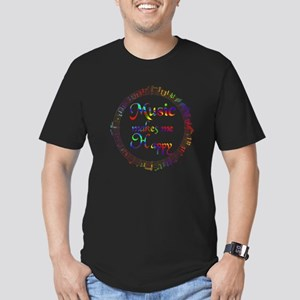 Music makes me Happy Men's Fitted T-Shirt (dark)