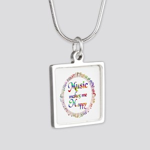 Music makes me Happy Silver Square Necklace