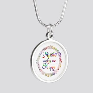 Music makes me Happy Silver Round Necklace